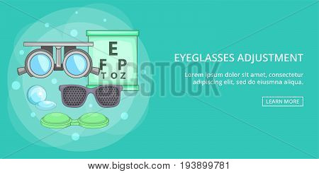 Eyeglasses adjusment horizontal concept. Cartoon illustration of eyeglasses adjusment banner horizontal vector for web