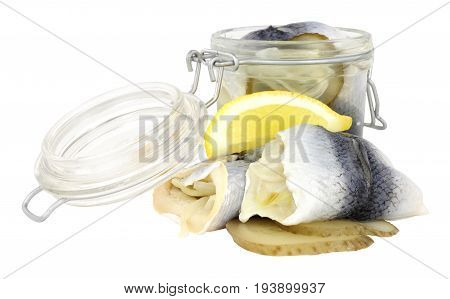 Pickled rollmop herrings in a glass storage jar isolated on a white background
