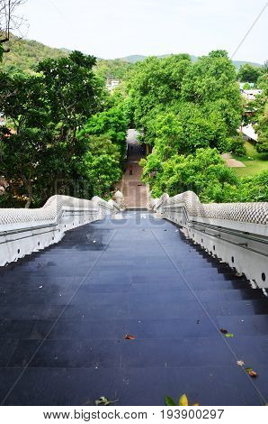 Gate Entrance With Naga Staircase For People Walking Go To Praying And Visit Lord Buddha Image Line