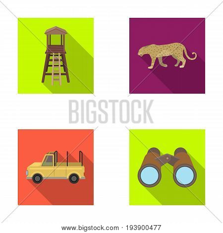 Observation tower for the hunter, leopard, hunting machine, binoculars. African safari set collection icons in flat style vector symbol stock illustration .