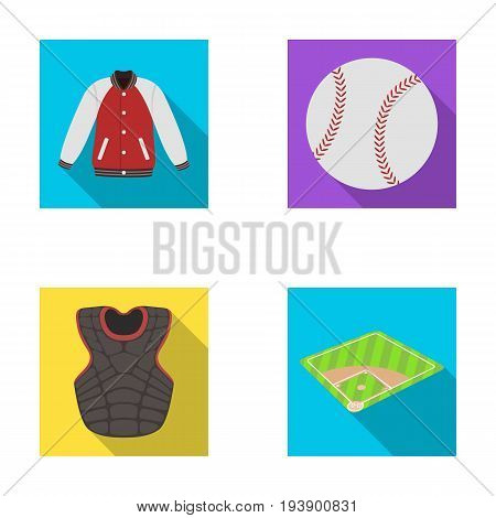 Playground, jacket, ball, protective vest. Baseball set collection icons in flat style vector symbol stock illustration .