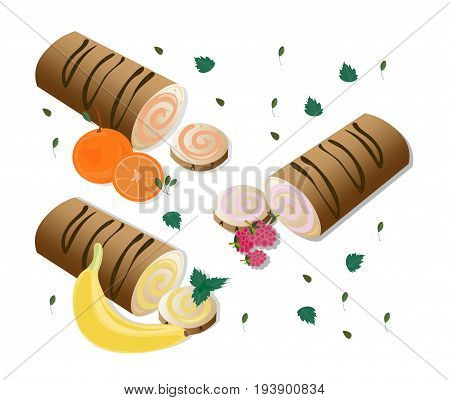 Roll cakes with fruits. Sweets, dessert, Banan berry orange frosting
