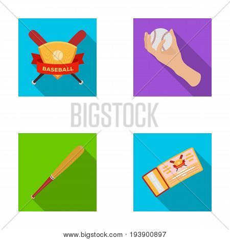Club emblem, bat, ball in hand, ticket to match. Baseball set collection icons in flat style vector symbol stock illustration .