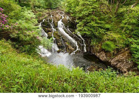 Part of the Swallow Falls in Snowdonia National Park. Betws y Coed Gwynedd Wales United Kingdom.