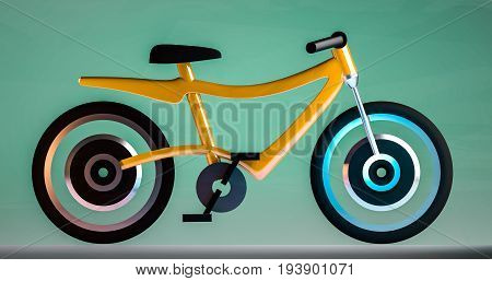 minimalistic 3d Electric bicycle of juicy yellow color
