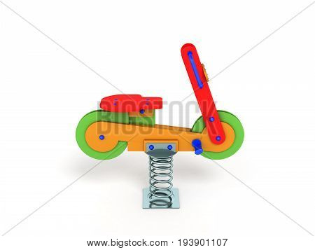 Playground Spring Motorcycle 3D Render On White Background