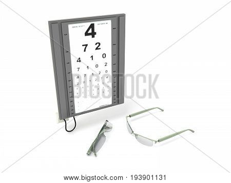 The Optometrist Board 3D Render On A White Background