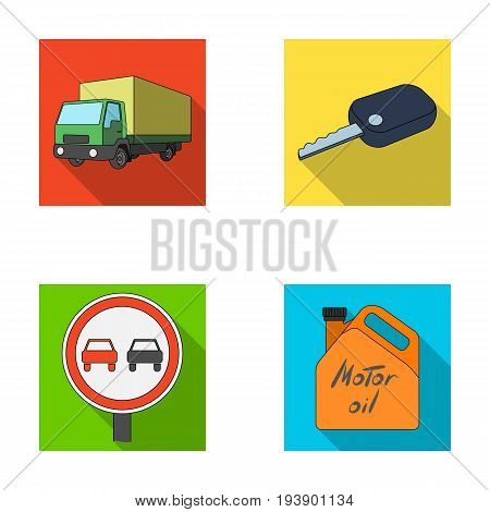 Truck with awning, ignition key, prohibitory sign, engine oil in canister, Vehicle set collection icons in flat style vector symbol stock illustration .