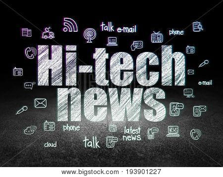 News concept: Glowing text Hi-tech News,  Hand Drawn News Icons in grunge dark room with Dirty Floor, black background