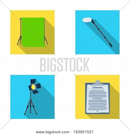 Hromakey, script and other equipment. Making movies set collection icons in flat style vector symbol stock illustration .