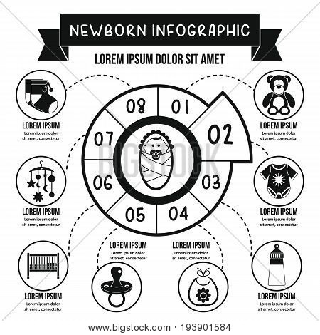 Newborn infographic banner concept. Simple illustration of newborn infographic vector poster concept for web