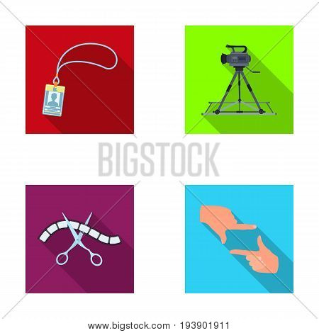 Badge, operator gesture and other accessories for the movie. Making movie set collection icons in flat style vector symbol stock illustration .