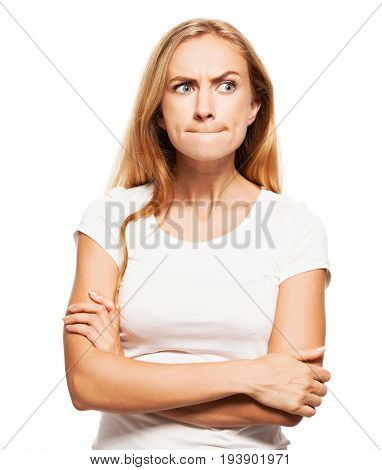 Frightened girl. Female with pinched lips