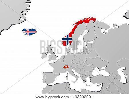 European Free Trade Association Efta 3D Render In Map