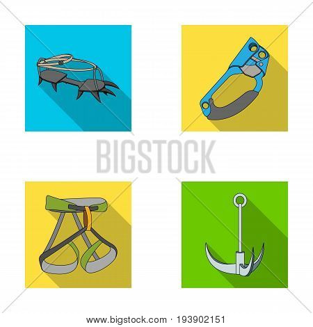 Hook, mountaineer harness, insurance and other equipment.Mountaineering set collection icons in flat style vector symbol stock illustration .