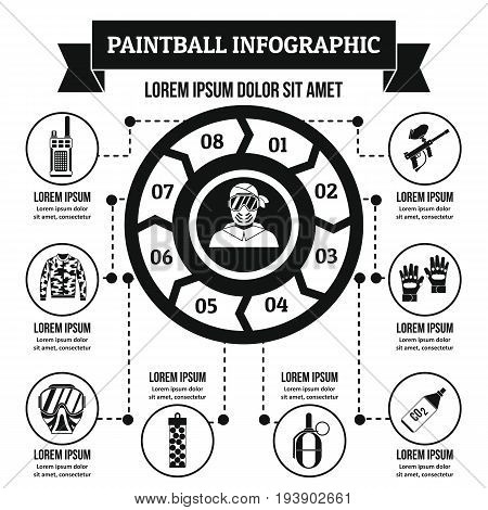 Paintball infographic banner concept. Simple illustration of paintball infographic vector poster concept for web