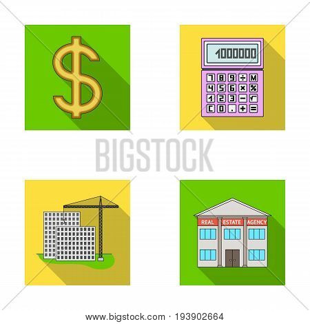 Calculator, dollar sign, new building, real estate offices. Realtor set collection icons in flat style vector symbol stock illustration .