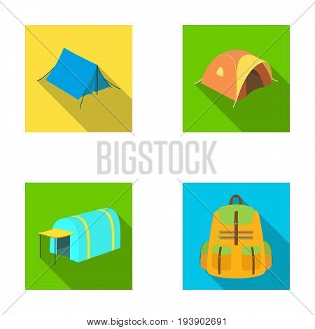 Backpack and other kinds of tents.Tent set collection icons in flat style vector symbol stock illustration .