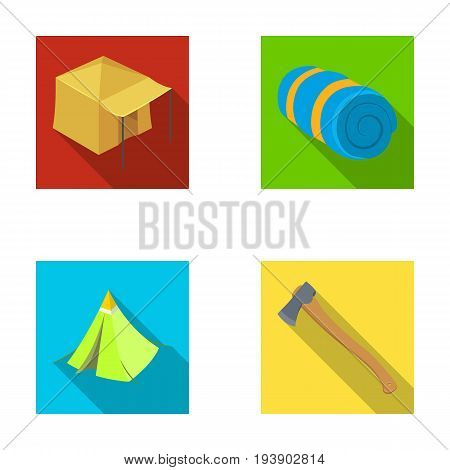 Tent with awning, ax and other accessories.Tent set collection icons in flat style vector symbol stock illustration .