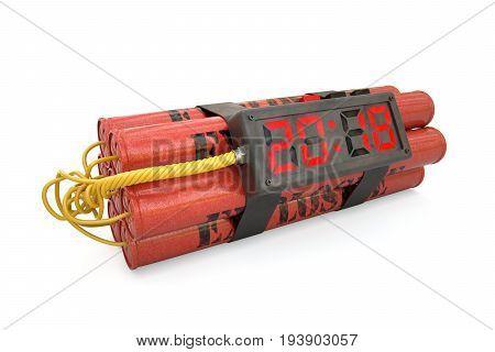Explosives With Alarm Clock 2018 Detonator Isolated On White Background