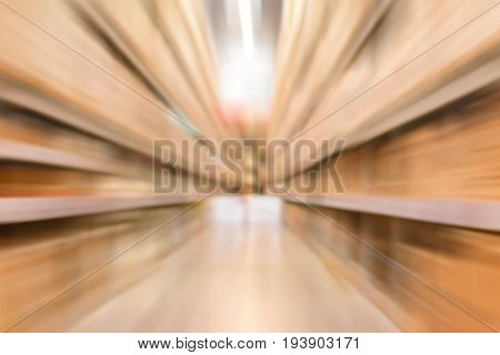 Blurred warehouse or storehouse for background fast moving (zoom) effect