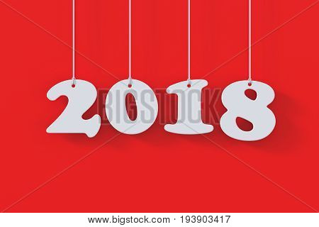 2018 White Paper Origami Card On Red Background