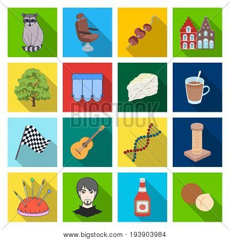 business, trade, tourism and other  icon in flat style.architecture, restaurant, hobby icons in set collection.