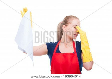 Lady Keeping Smelly Tissue At Distance