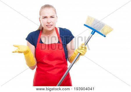 Annoyed Cleaning Lady With Broom