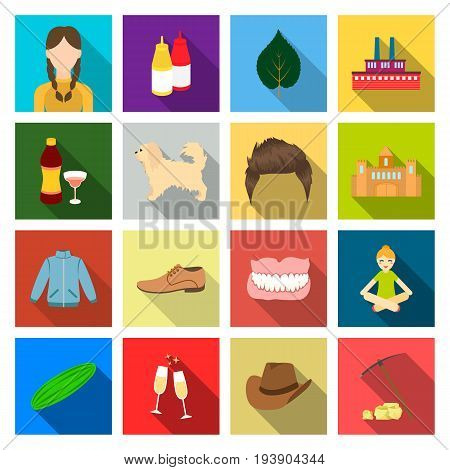 pick, stones, business and other  icon in flat style.wedding, hat, headdress, icons in set collection.