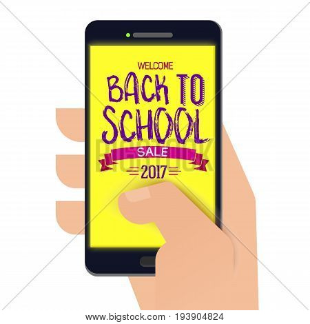 Paper cut Back to school banner on smartphone with paper hand. Back to school logo. Vector illustration. Hand drawn lettering. Typography tag. Retro styled
