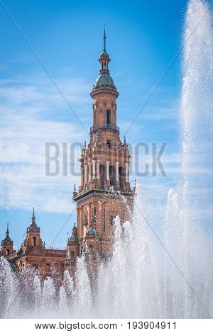 Plaza De España Seville, Andalucia, Spain With Fountain In Foreground.