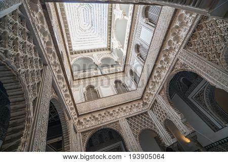 The Patio De Las Munecas, Alcazar, Seville, Andalucia, Spain