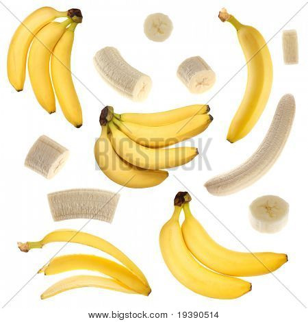 Isolated bananas collection