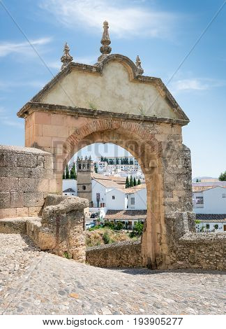 The Felipe V Arch to the Old Bridge in Ronda Andalusia Spain