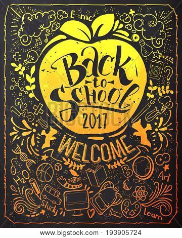 Vertical Back to school lettering on blackboard with doodles. Colorfull lettering for education background. Sketches and hand written text. Childrens styled drawing. Vector illustartion.
