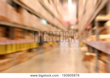 Blurred warehouse or storehouse for background fast moving effect