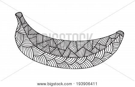 Adult coloring book page design with a picture of a banana. Coloring book page for adult. Vector illustration in the style of tribal design