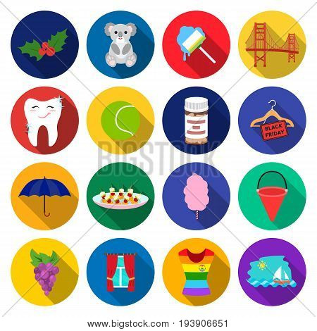 leisure, business, hygiene and other  icon in flat style. blouse, clothes, ship icons in set collection.