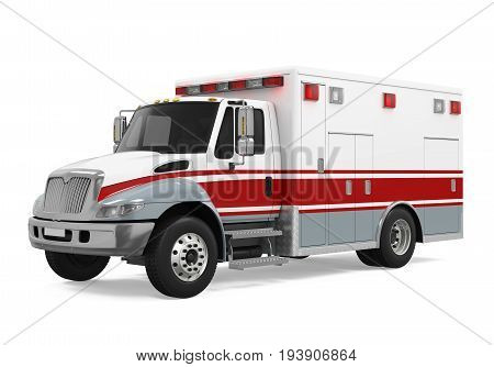 Ambulance Emergency Fire Truck isolated on white background. 3D render