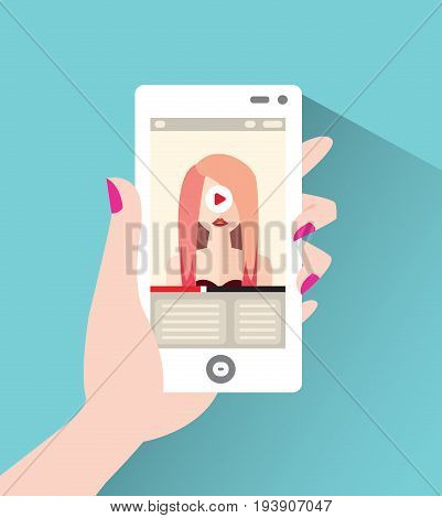 Fashionable young woman on the screen of the smartphone. Vector illustration in flat style