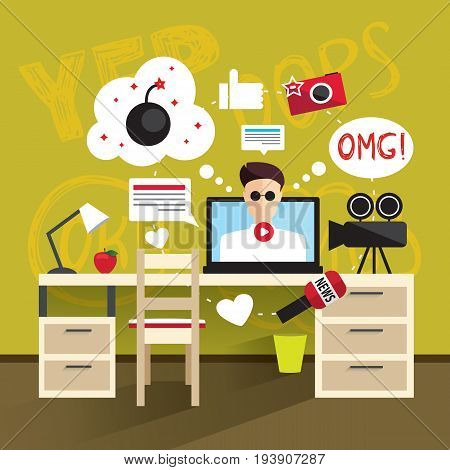 Working place modern man. A man records a video. Vector illustration in flat style