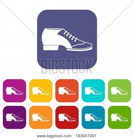 Tango shoe icons set vector illustration in flat style In colors red, blue, green and other