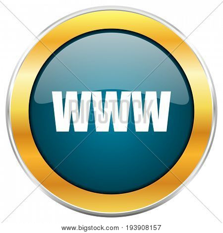 WWW blue glossy round icon with golden chrome metallic border isolated on white background for web and mobile apps designers.
