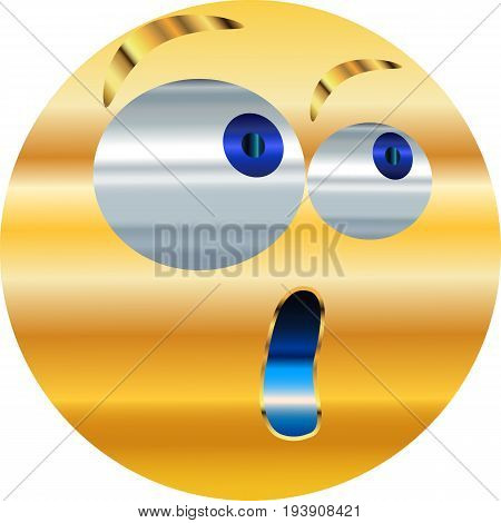 Metallic Emoticon-sticker / Emoticon surprise, startle / vector