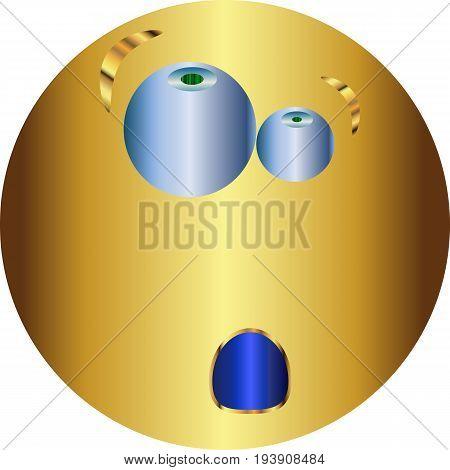 Metallic Emoticon sticker / Emoticon thoughtful / vector