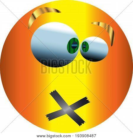 Metallic Emoticon Sticker / Emoticon Silent / Vector.