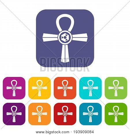 Egypt Ankh symbol icons set vector illustration in flat style In colors red, blue, green and other