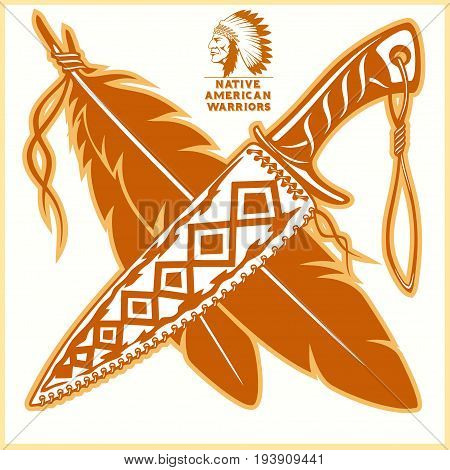 American indian vector logos - vector illustration on light background.
