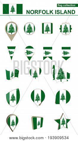 Norfolk Island Flag Collection. Big Set For Design.